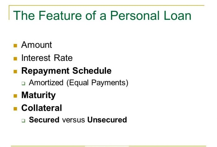 Features of personal loan
